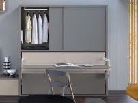 Yori single wall bed with wardrobe