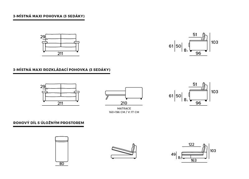 Rozkládací pohovka BOGART Class 3 - rozměry