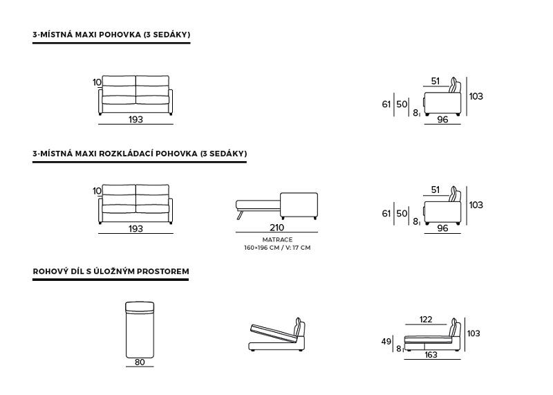 Rozkládací pohovka BOGART Class 7 - rozměry