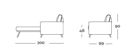 Rozkládací pohovka ECLISSE potřebuje na rozložení je 200 cm