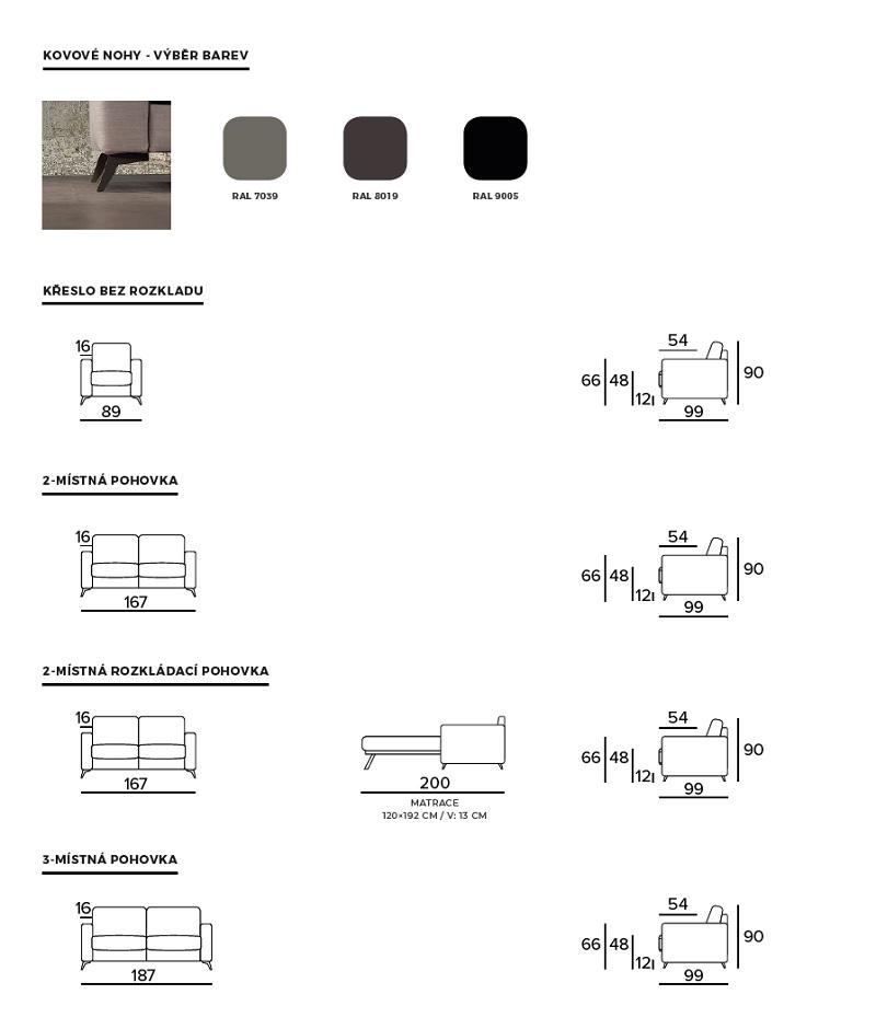 Rozkládací pohovka ECLISSE - rozměry