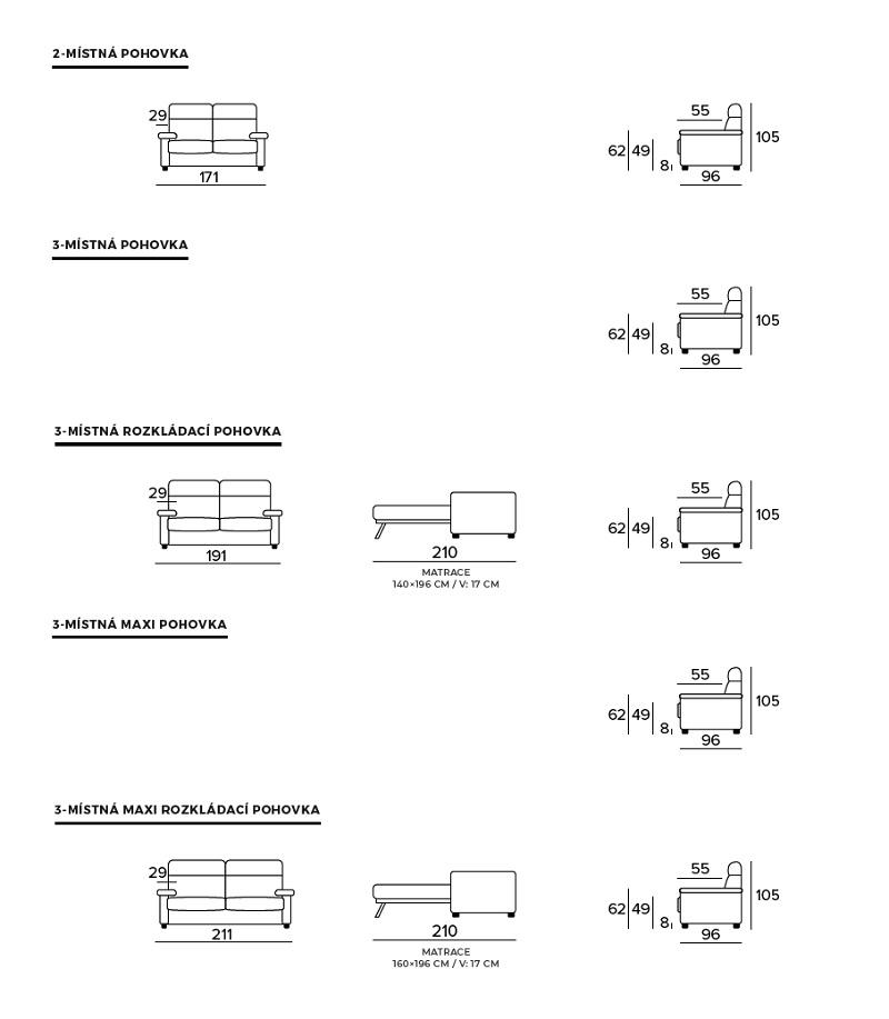 Rozkládací pohovka EMPIRE - rozměry